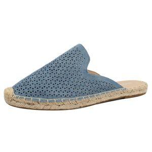 Shoes - Blue Perforated Crochet  Slip On Flat Sandal
